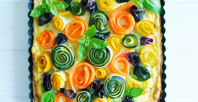 Triple Cheese Tart with Garden Veggie Roses