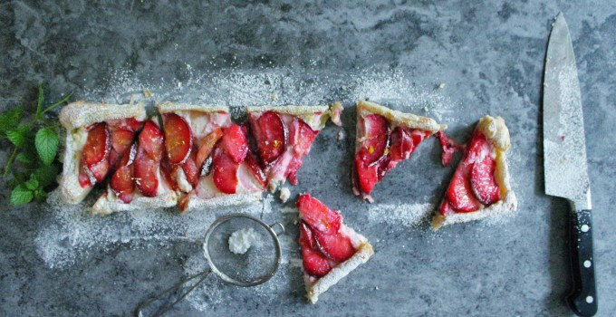 Red Plum, Lemon & Ricotta Tart