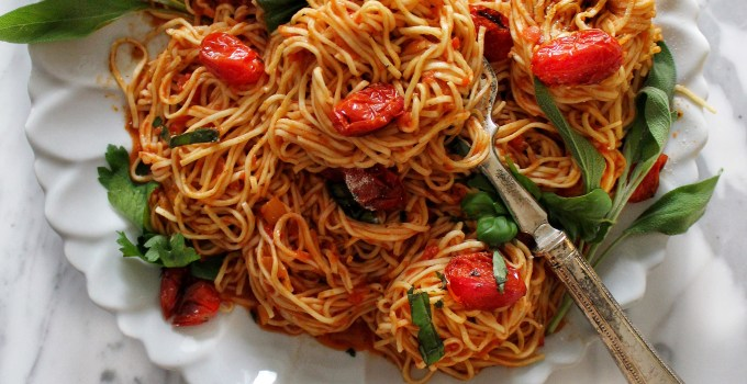 Spaghettini with Roasted Tomatoes, Fresh Basil and Light Marinara Sauce