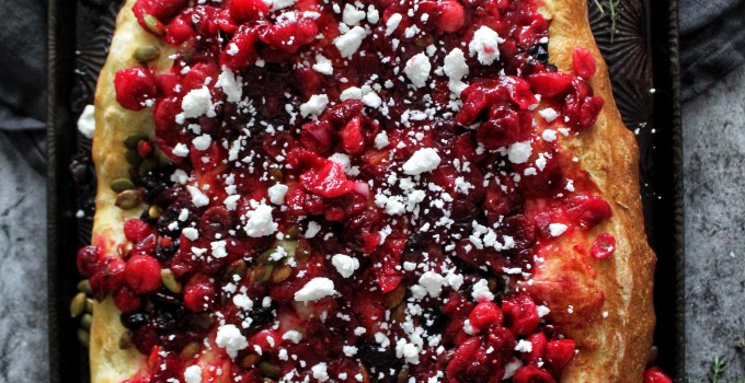Roasted Cranberry and Goat Feta Focaccia