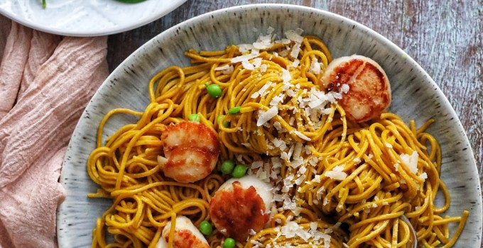 Turmeric Pasta with Garlic Butter Seared Scallops and Ricotta