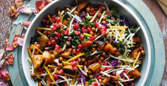 Cinnamon Roasted Sweet Potato, Kale and Crispy Chickpea Salad with Lemon Tahini Dressing