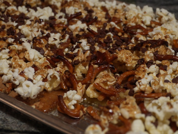 Popcorn toffee bars can be made a few days in advance and stored in an airtight container at room temperature. (KRYSTEN MASSA / THE STATESMAN)