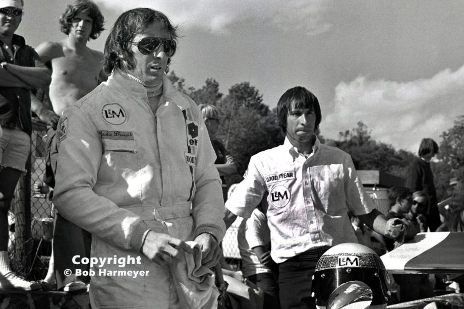 Jackie Stewart prepares to drive Carl Haas' Lola T260 in the 1971 Can-Am race at Le Circuit Mont Tremblant in Quebec. Stewart won the Formula 1 World Championship that season for Ken Tyrrell, and also drove the full Can-Am schedule for Carl Haas, winning at both Mont Tremblant and Mid-Ohio.
