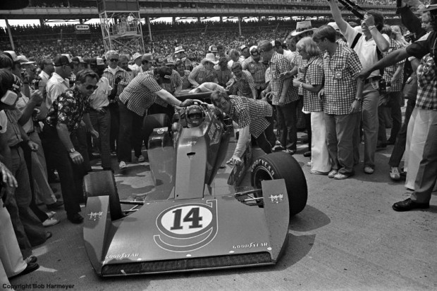 AJ Foyt's crew pushes his Coyote 75/Foyt TC to victory lane after he became the first four-time winner of the Indianapolis 500 on May 29, 1977.