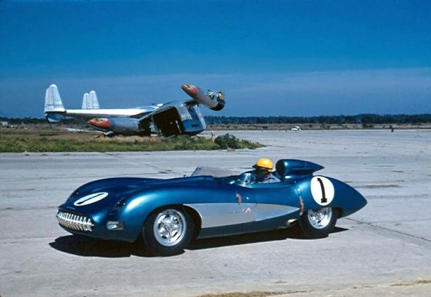 Zora Arkus Duntov drives the lightweight Corvette Super Sport at Sebring