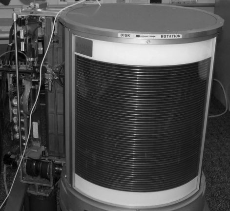 The 24 large storage disks on the IBM computer had a capacity of 5 MB total. Computer History Museum photo.