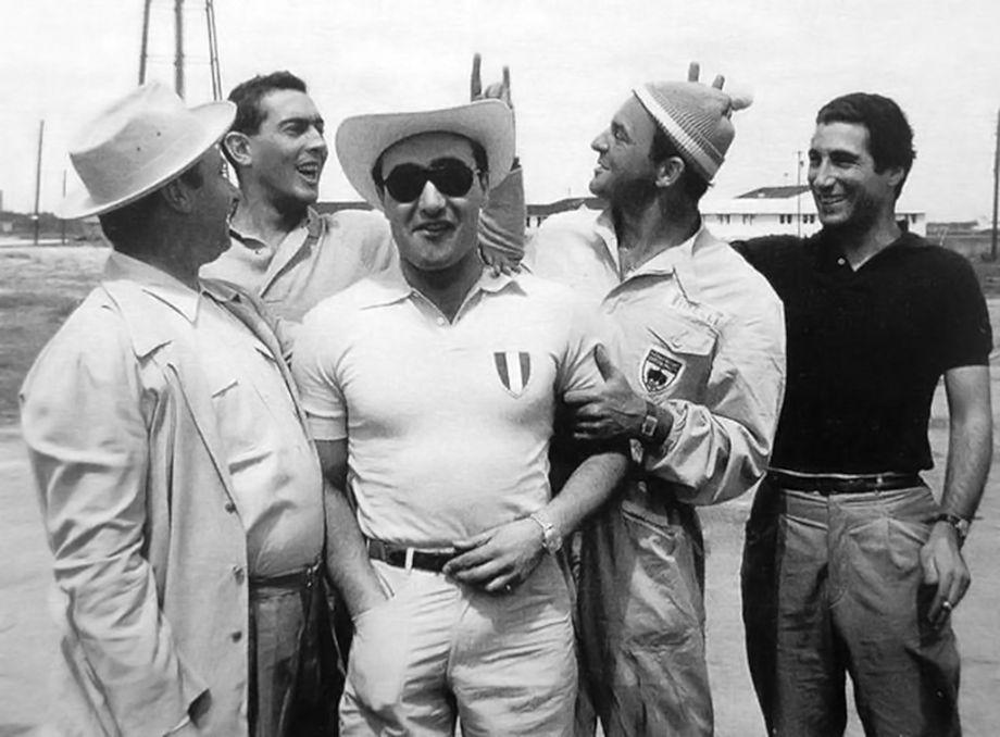 Ferrari team drivers Juan Fangio, Luigi Musso, Eugenio Castellotti, Harry Schell and Alfonso de Portago