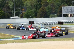 MSC NZ F5000 Tasman Cup Revival Series Historic Sandown round winner Tom Tweedie leads the field on Saturday