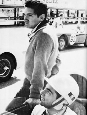 The Rodriguez brothers, Pedro, standing and younger brother Ricardo in the car. When they started racing at Sebring they were too young to have a Florida driver's license and had to be driven to the track by their father. Tragically both would die in racing accidents. SIR photo.