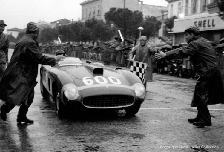 Juan Manuel Fangio completing the 1956 Mille Miglia in the Ferrari 290 MM (photo: Alexis Callier Collection)