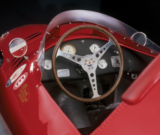 Interior picture of the 1956 Maserati 250F that won the 1956 Monaco Grand Prix driven by Stirling Moss
