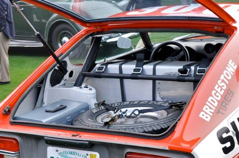 Close-up of the trunk on the 1972 BRE Datsun 240Z