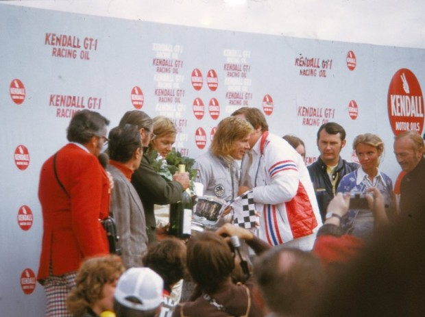 James Hunt and Ronnie Peterson in Victory Circle at Watkins Glen