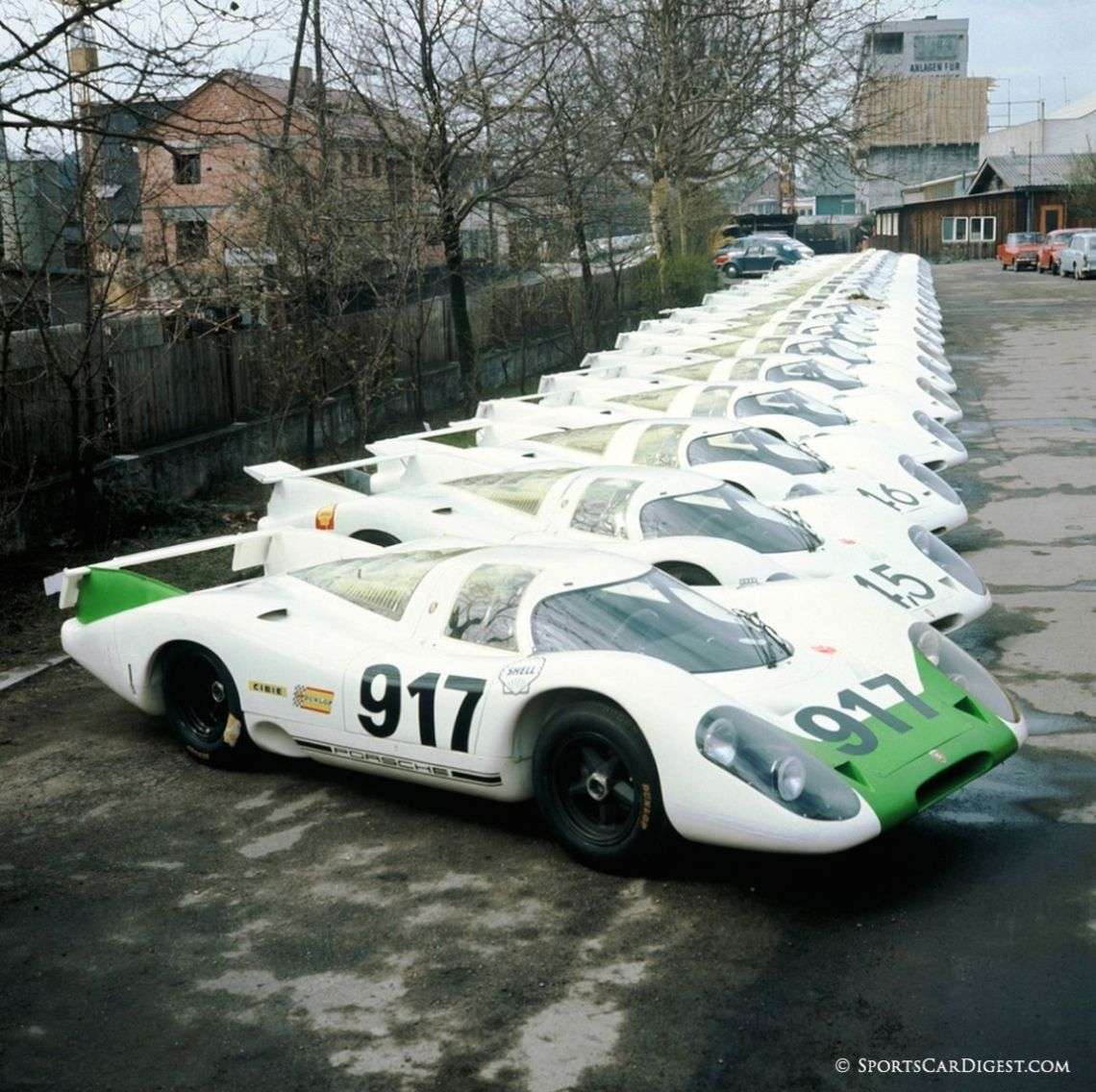 Porsche 917s lined up in preparation for FIA homologation. Porsche AG photo.