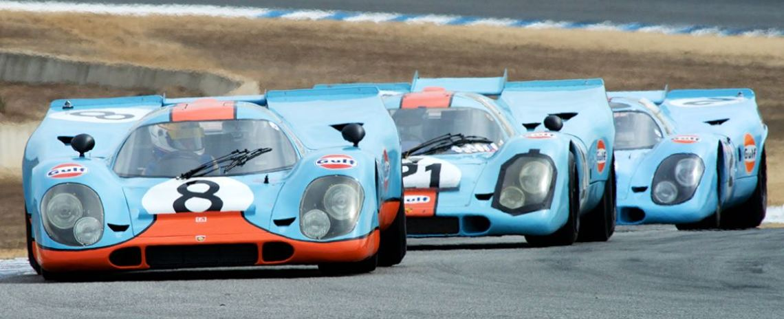 Trio of Porsche 917 racers at Rennsport Reunion