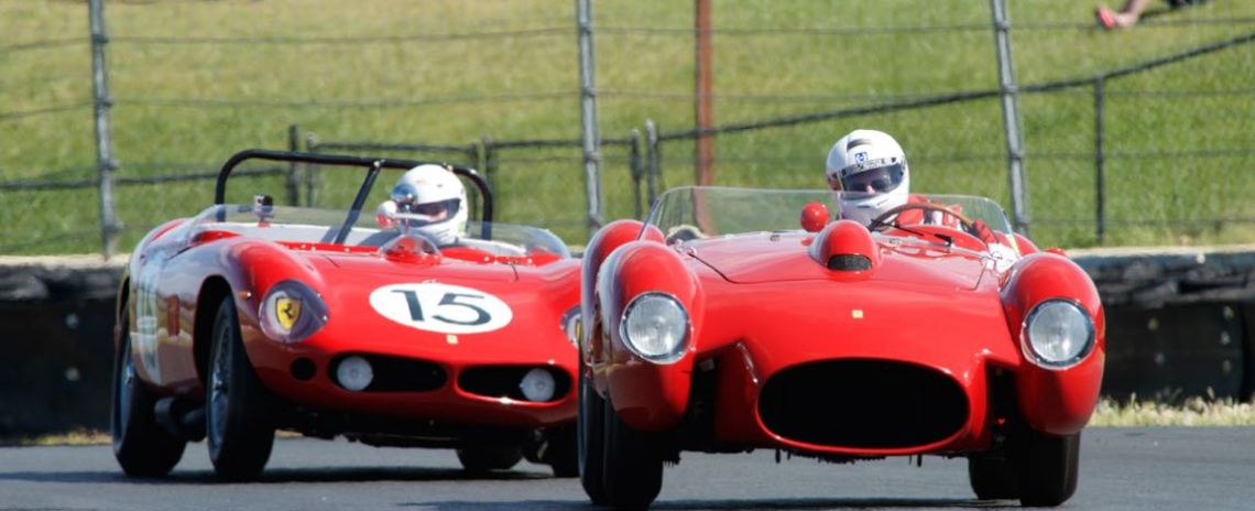 Tom Price in his Ferrari 250TR leads Spencer Trenery in his Ferrari 250TRI 61 R.