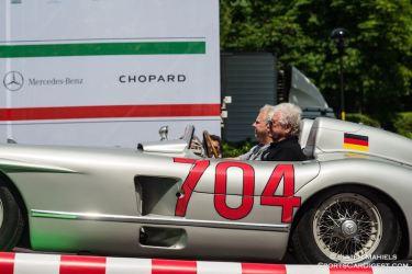 Hans Herrmann behind the wheel of the 1955 Mercedes-Benz 300 SLR #704