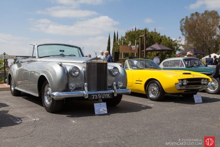 Left to right, the 1960 Rolls Royce Silver Cloud II Drophead Coupe and 1968 Ghia 450 SS