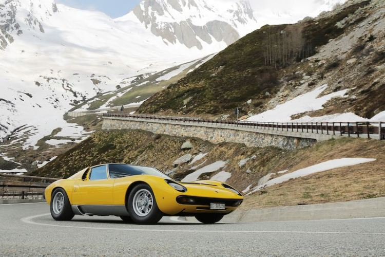 Lamborghini Miura on the Great St. Bernard Pass
