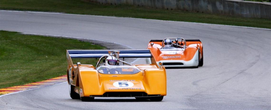 Chris MacAllister, 71 McLaren M8F and Lilo Ben-Zicron, 68 Lola T160