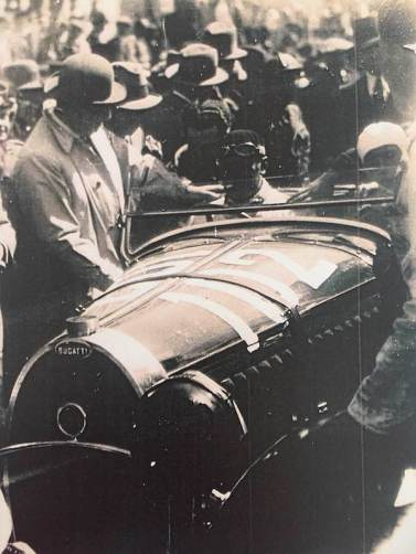 Jean Bugatti was pictured next to the Bugatti Type 55 Roadster at Monza in September 1932
