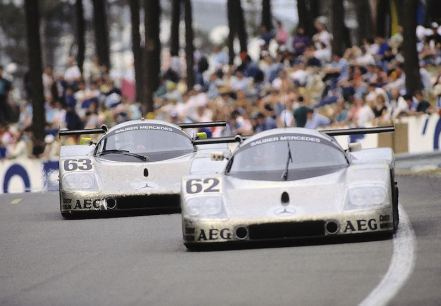 24 Hours of Le Mans, 10/11 June 1989. Sauber-Mercedes Group C racing car C 9. Start number 63 – winners: Jochen Mass / Manuel Reuter / Stanley Dickens