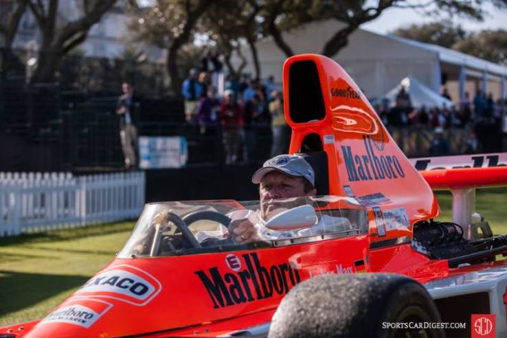 Jochen Mass opening the show with 1977 McLaren M23