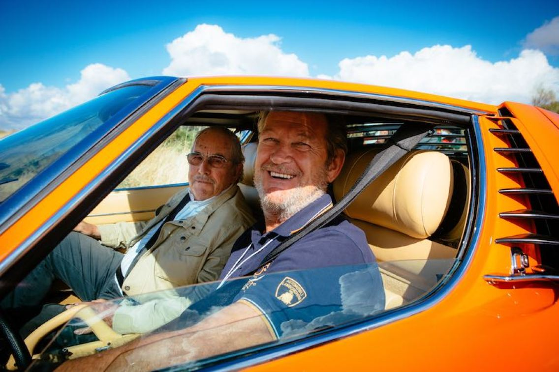 Lamborghini test driver Valentino Balboni on the Miura 50th Anniversary Rally