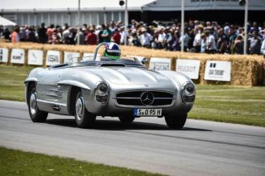 Mercedes-Benz 300 SLS (W 198). The vehicle is a special lightweight version of the 300 SL Roadster, two examples of which were produced in 1957 for the American sports car championship. Paul O´Shea won in Category D, having secured a significant lead over the competition. (Photo from the Goodwood Festival of Speed 2014)