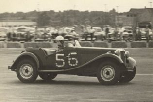 John Fitch drives an MG-TD at the June 10, 1950 races at Linden Airport in Linden, N.J.