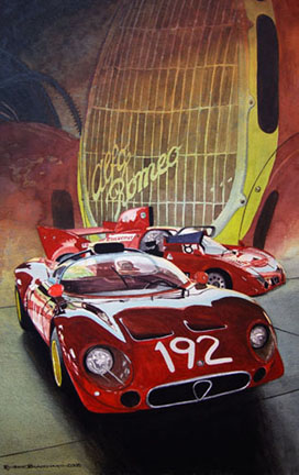 Alfa Romeo T33 racers with an Alfa Romeo 8C-35 rendered in the background