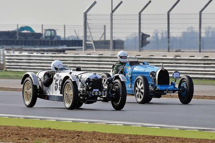Riley 9 Brooklands 1930 of Tim Kneller and the 1927 Bugatti T35B of Martin Overington