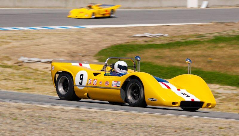 Ilja Burkoff wheels the 1968 McLaren M6B in turn five.