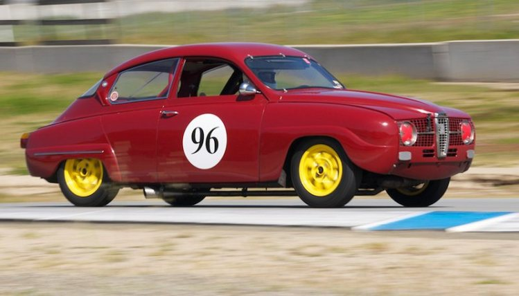 Saab 96 of Paul Perry exits five.