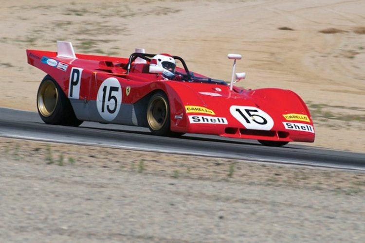Ernie Prisbe's Ferrari 312PB accelerates out of 5.
