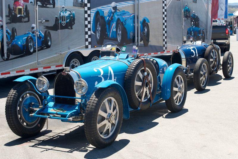 1934 Bugatti Type 51 and a 1928 Type 37A.
