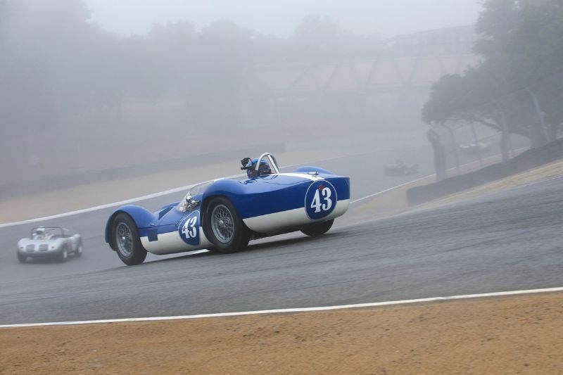 Fog and a damp track greet the Tipo 60 Maserati of Rob Walton.