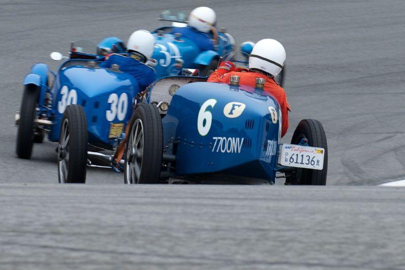 Bugattis in the Corkscrew.