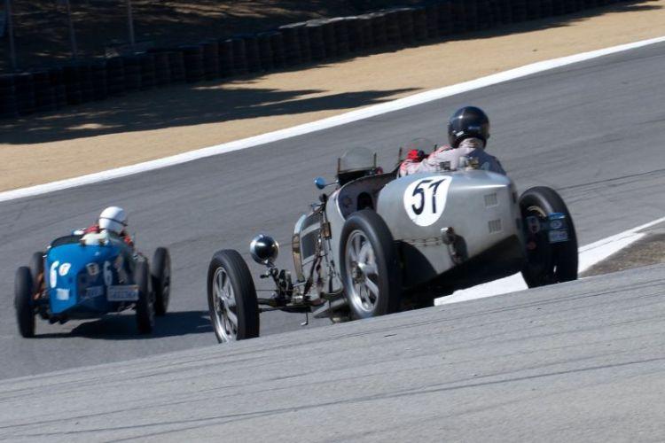 1933 Bugatti Type 51 driven by Hubert Jaunin follows Ivan Zaremba into turn 8A.