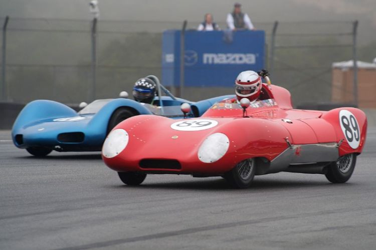 John Hurabiell's 1956 Lotus Eleven leads Tom Thinesen's Elva MK