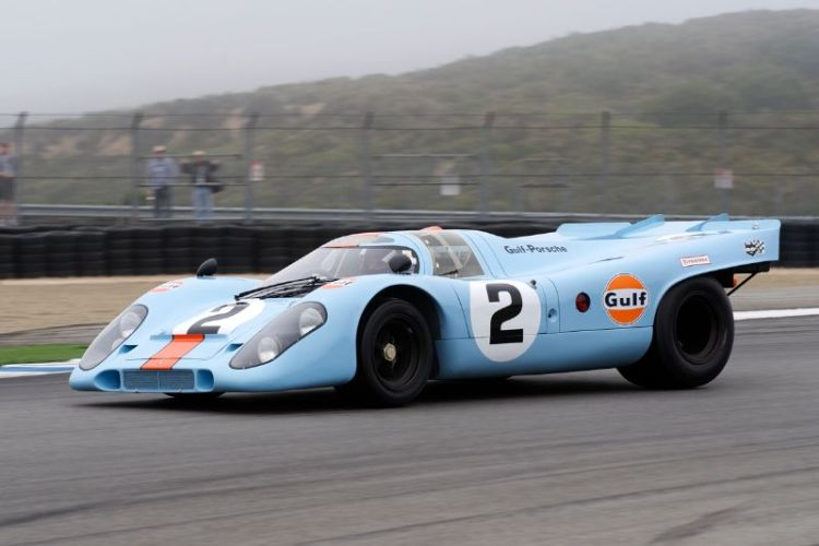 5A Winner Bruce Canepa accelerates his Gulf Porsche 917 up the front straight.