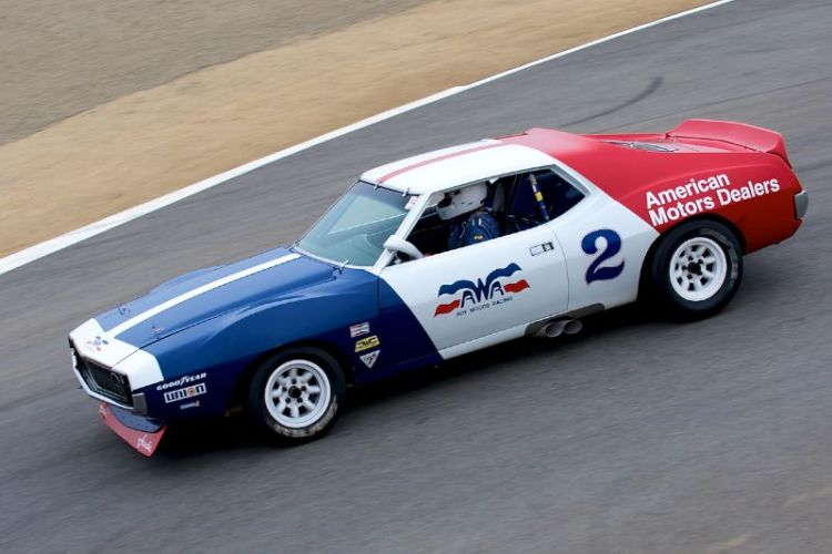 Jim Hague in his 1971 AMC Javelin going into the Corkscrew.
