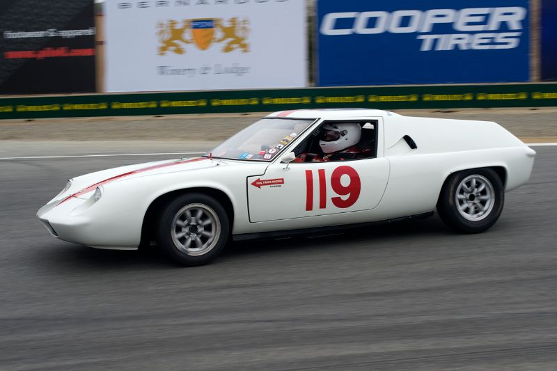 Dan Wardman's 1967 Lotus Europa 51 in turn 11.