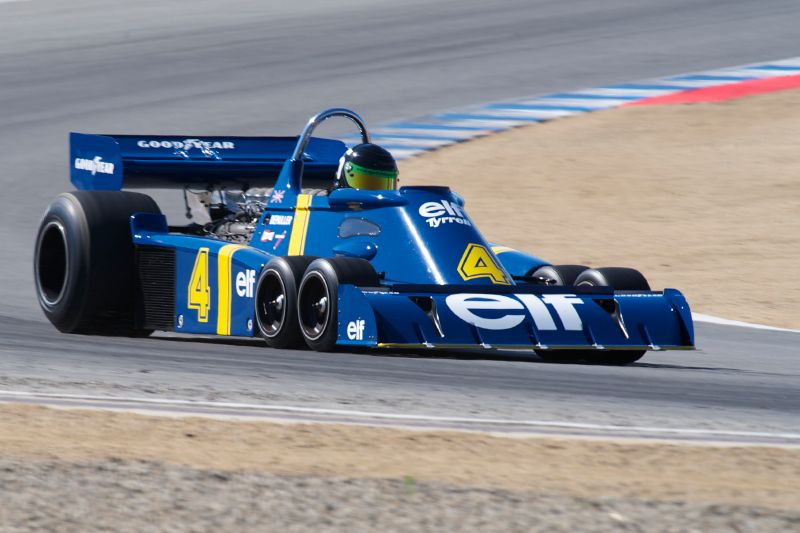 1976 Tyrrell P34 driven by Craig Bennett in turn five.