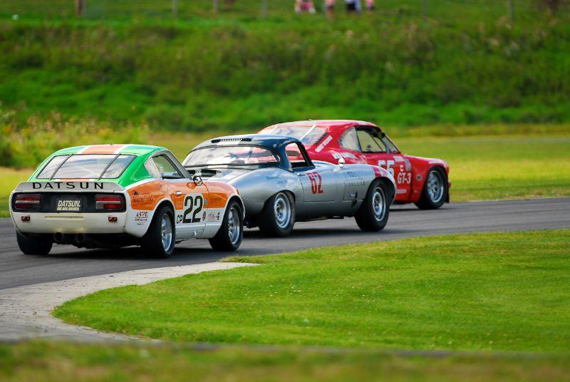 1973- Mazda RX3- Rod Folia- #62- 1962 Jaguar XKE Jack Busch- #22- 1973 Datsun 240Z- Martin Handshy.