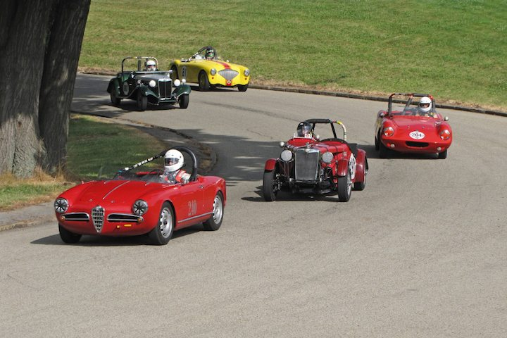 1958 Alfa Romeo Giulietta, 1953 MG TD and 1959 Elva Courier