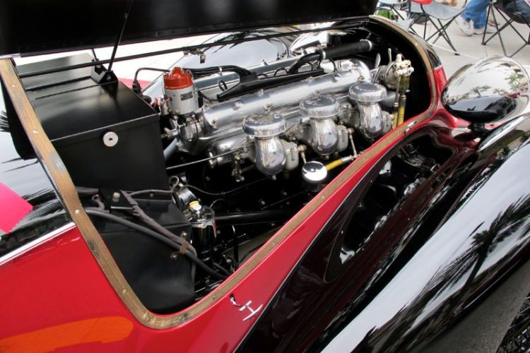Three Weber carburetors fuel the gorgeous inline 6-cylinder engine of Tony Shooshani's 1936 Alfa Romeo 6C2500 SS Corsa.