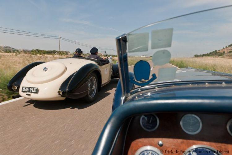 1938 Bugatti T57C sn 57661 passing 1936 Bugatti T57SC sn 57492R