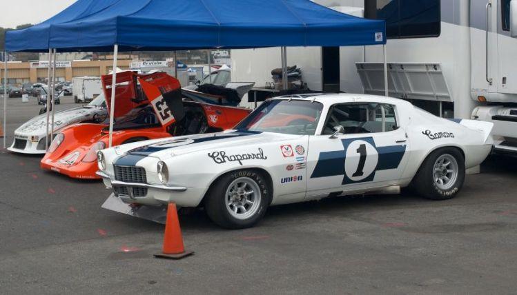 Pre-Reunion,Friday. Jimmy Castle, Jr's. team. Ex-Jim Hall Chaparral 1970 Camaro, 962C Porsche, 935 Porsche.
